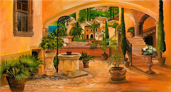 Wandbild mia morro brunnen des lebens wandbilder - Mediterrane wandbilder ...