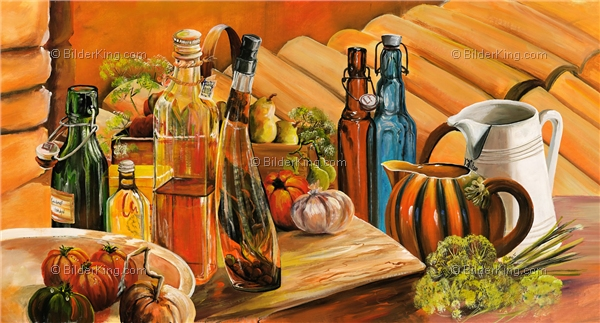 Mural - Mia Morro : vinegar and oil still life
