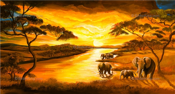 Mural - Mia Morro : Sunset at the river