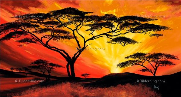 Wandbild mia morro afrikanischer sonnenuntegang for Selbstgemalte wandbilder